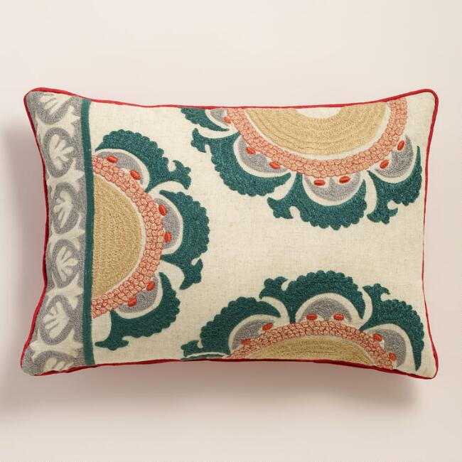 Teal and Red Suzani Lumbar Pillow
