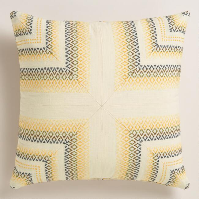 Gray and Yellow Throw Pillow