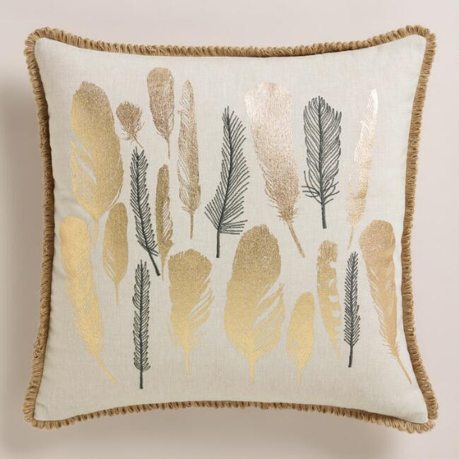 Metallic and Embroidered Feather Throw Pillow