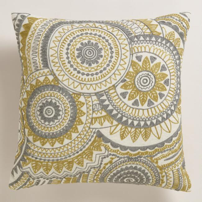 Yellow and Gray Abstract Throw Pillow