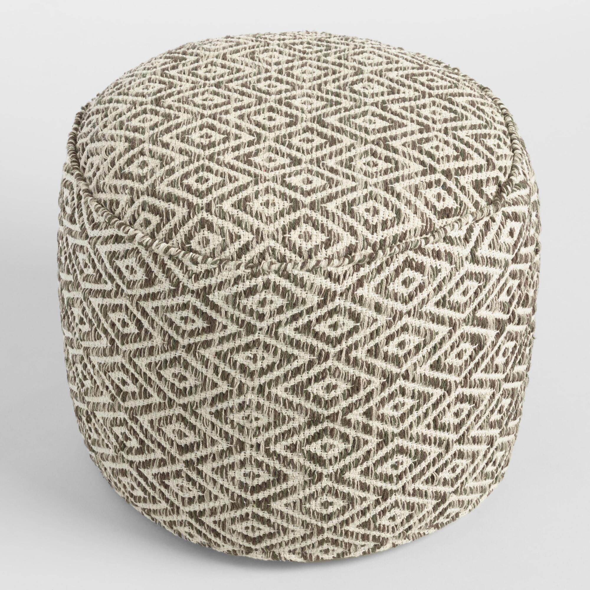floor pillows floor cushions  poufs  world market - brown and white diamond wool pouf