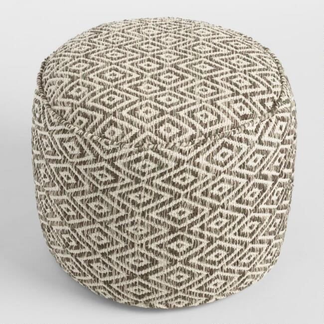 Brown and White Diamond Wool Pouf