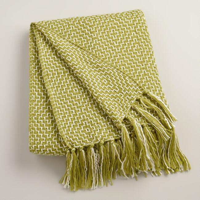 Green Two-Tone Geometric Throw