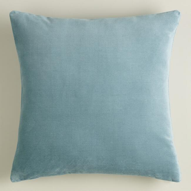 Steel Blue Velvet Throw Pillow