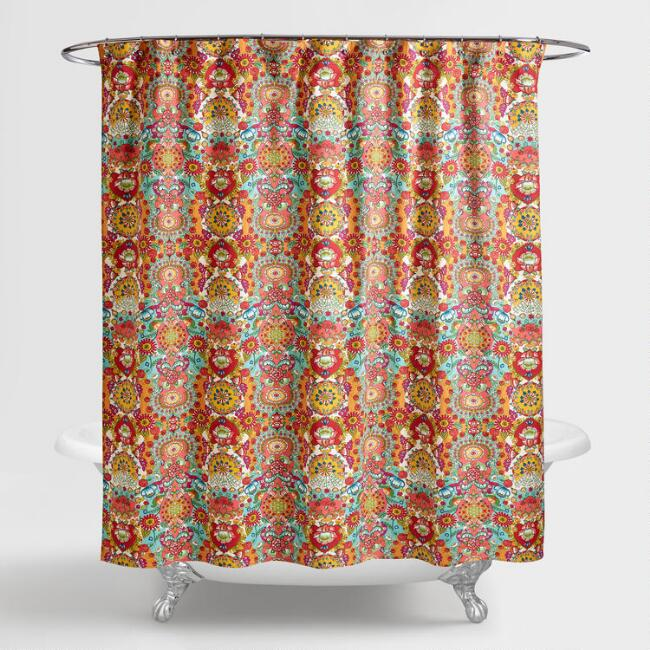 orange floral shower curtain.  Bettina Floral Shower Curtain World Market