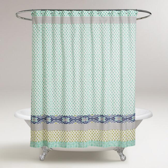 Blue and Green Daelynn Shower Curtain