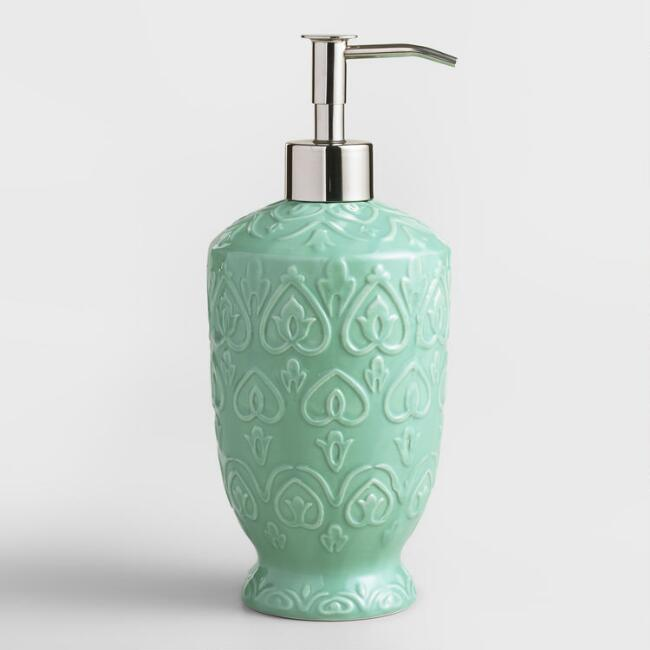 Sea Blue Embossed Ceramic Soap Dispenser