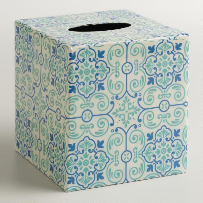 Turquoise Tile Tissue Box Cover