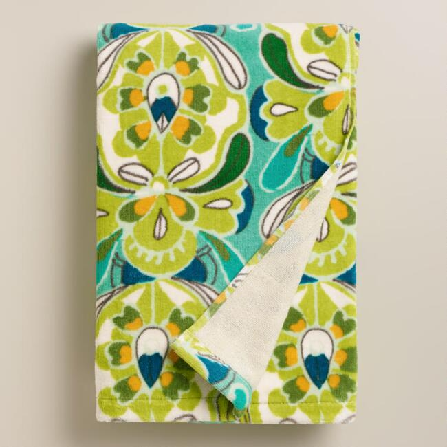 Blue and Green Tulip Bath Towel
