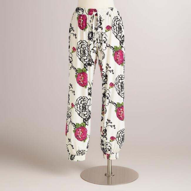 Black and Pink Floral Laurent Pajama Pants