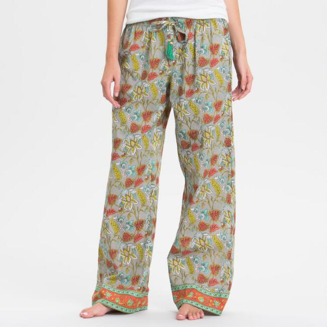 Coral and Gray Floral Kamala Pajama Pants