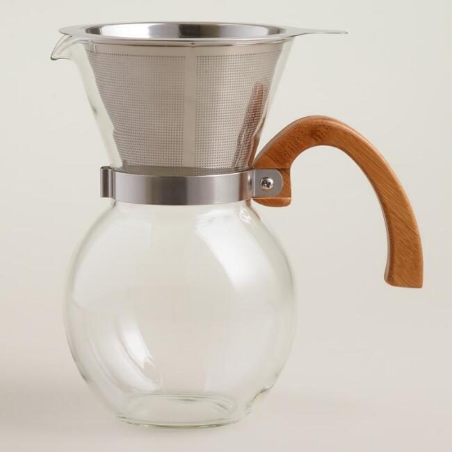 Glass Pour-Over Coffee Carafe with Bamboo Handle