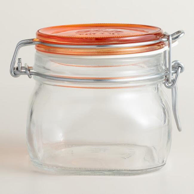 Medium Orange Fido Clamp Jars, Set of 6