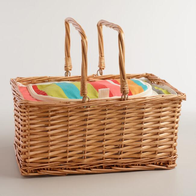Bungalow Stripe Insulated Picnic Basket