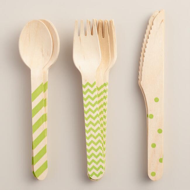 Kiwi Green Stamped Wood Cutlery Set
