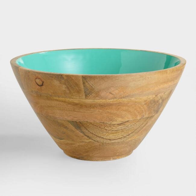 Large Lagoon Blue Wood Salad Bowl