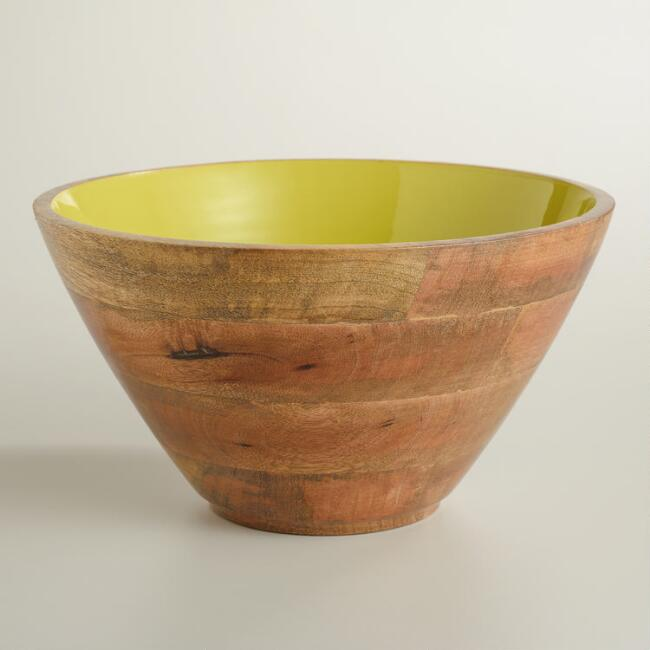 Large Apple Green Wood Salad Bowl