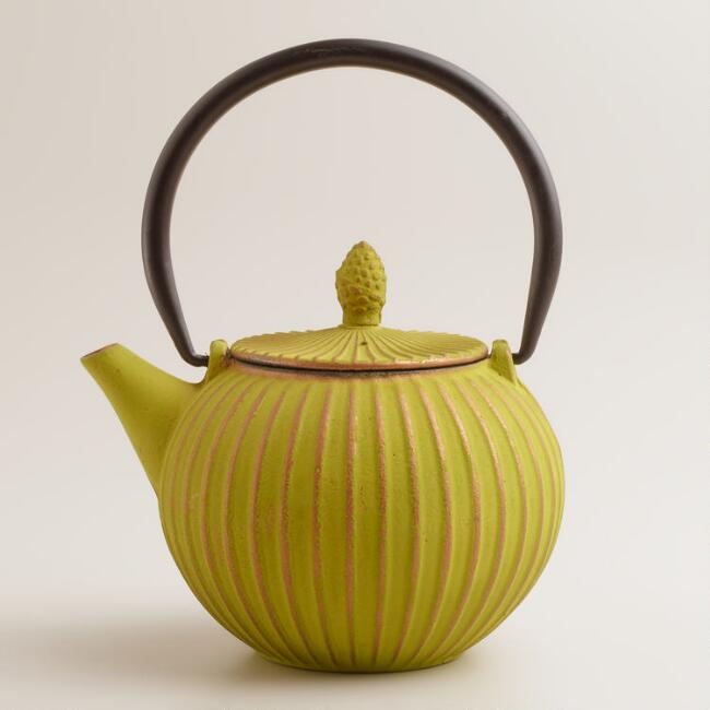 Green Ribbed Cast Iron Teapot