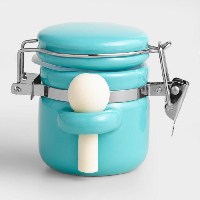 Mini Aqua Ceramic Canisters with Spoons, Set of 6