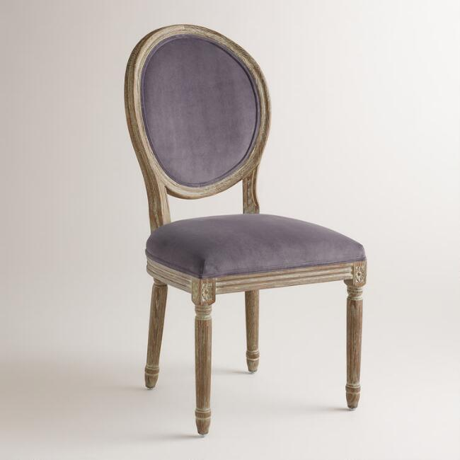 Plum Velvet Paige Round-Back Dining Chairs, Set of 2