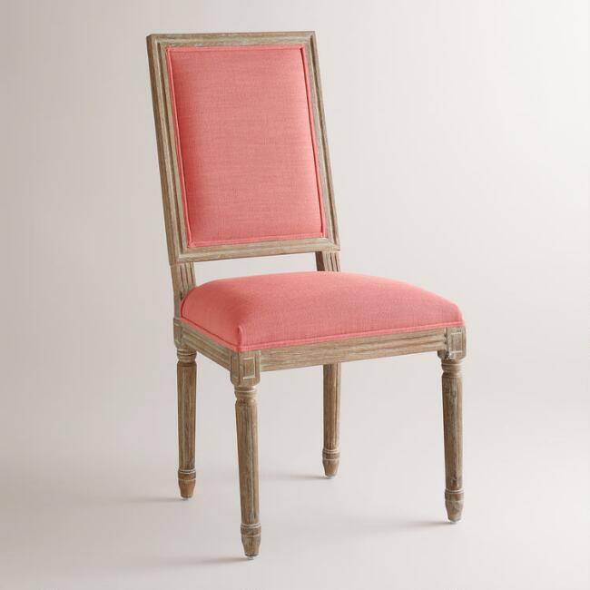 Coral Linen Paige Square-Back Dining Chairs, Set of 2