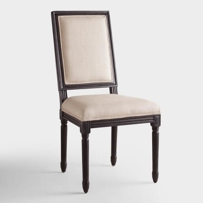 Linen and Black Square Back Paige Dining Chairs, Set of 2