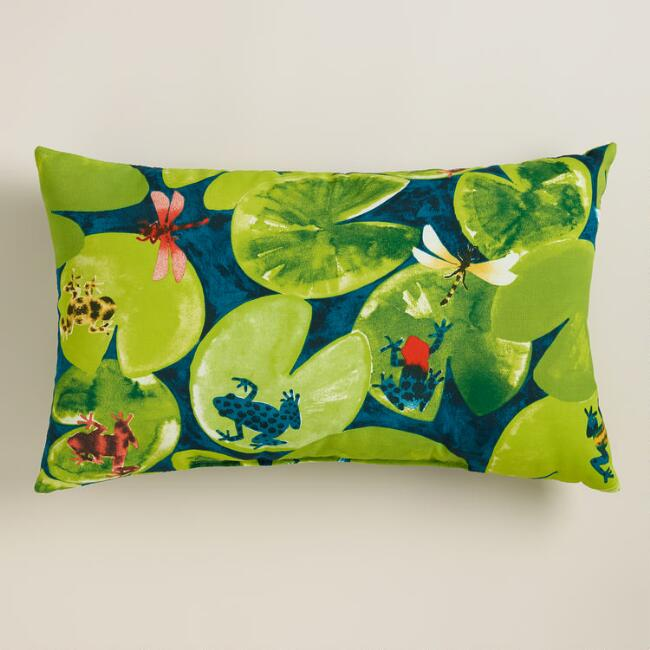 Frogs Outdoor Lumbar Pillow