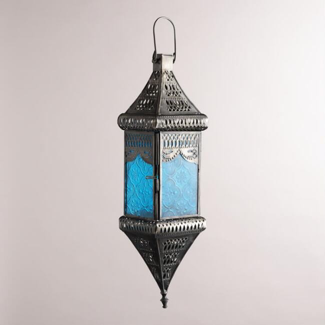 Small Blue Square Hanging Lantern
