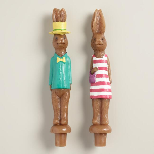 Bunny Taper Candles, Set of  2