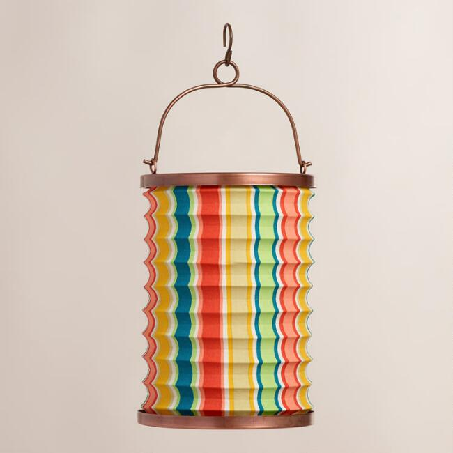 Bungalow Stripe Fabric Folding Lantern