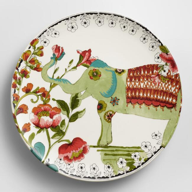 Light Green Nomad Elephant Plates, Set of 4