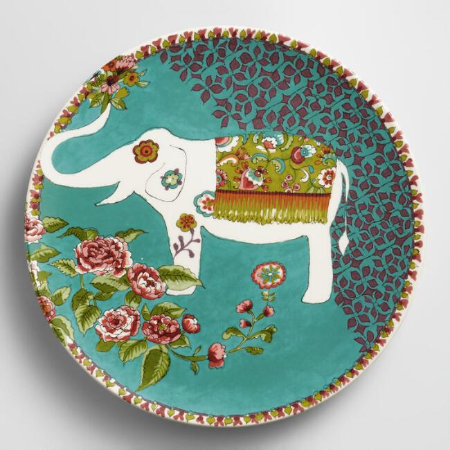 White Nomad Elephant Plates, Set of 4