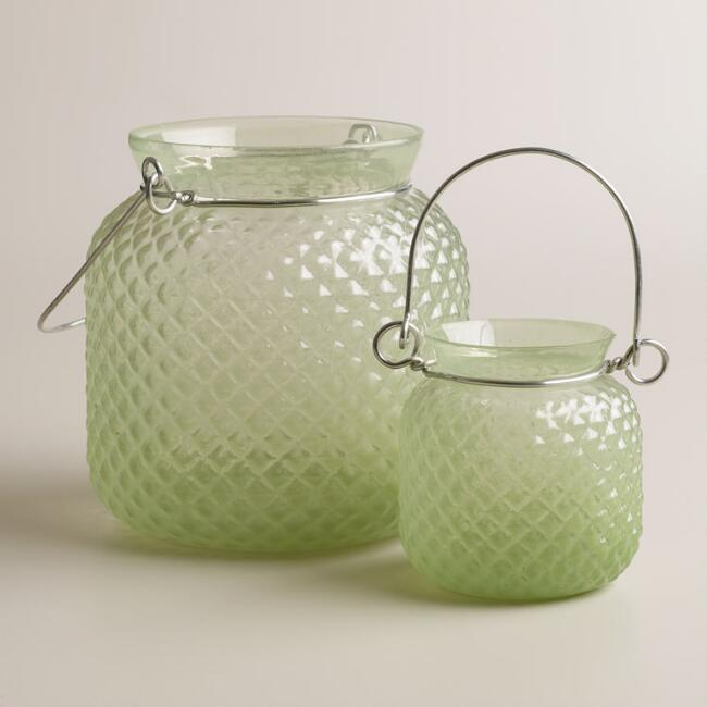 Green Opaque Glass Honeycomb Lantern