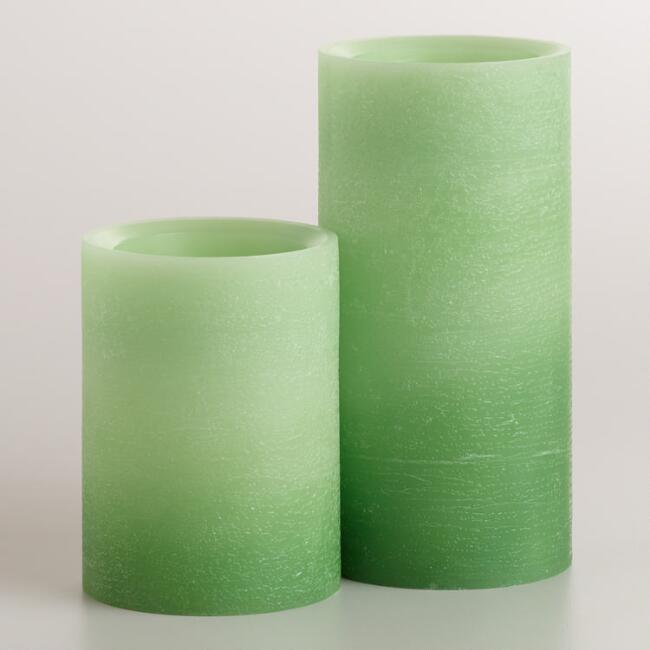Green Ombre LED Pillar Candle
