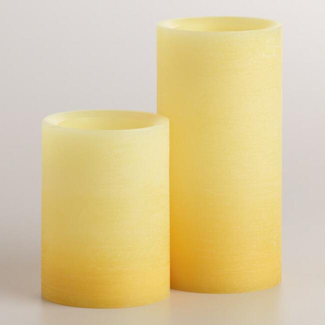 Yellow Ombre LED Pillar Candle