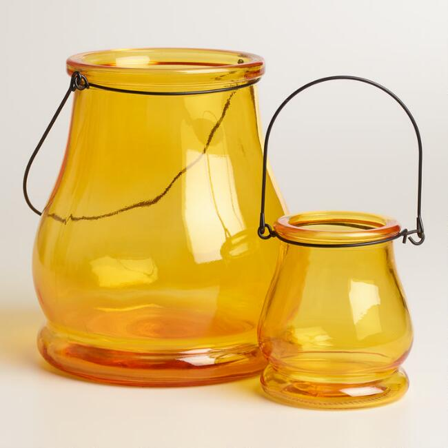 Yellow Glass Teardrop Lantern Candleholder