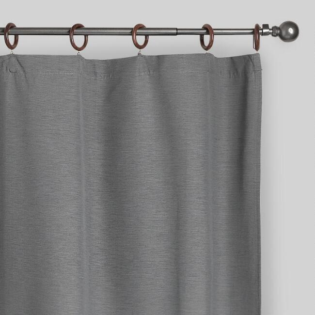 Gray Canvas Ring Top Jaya Curtains, Set of 2