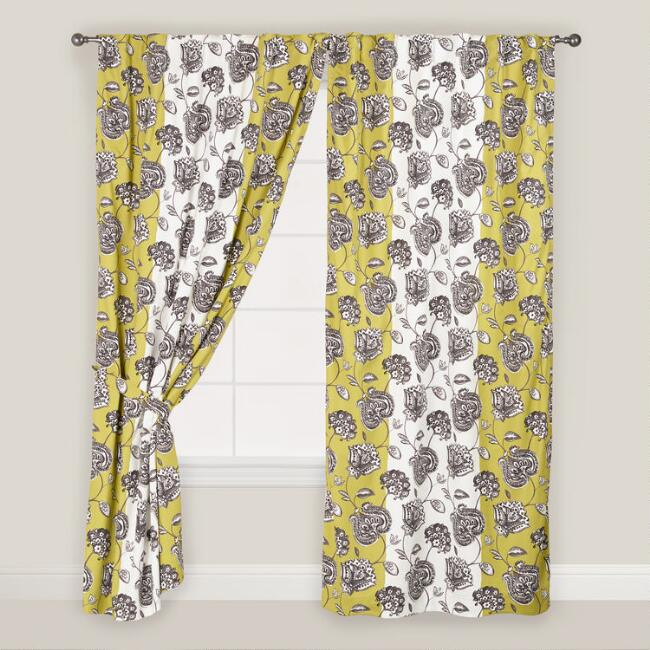 Green and White Floral Daniella Curtains, Set of 2