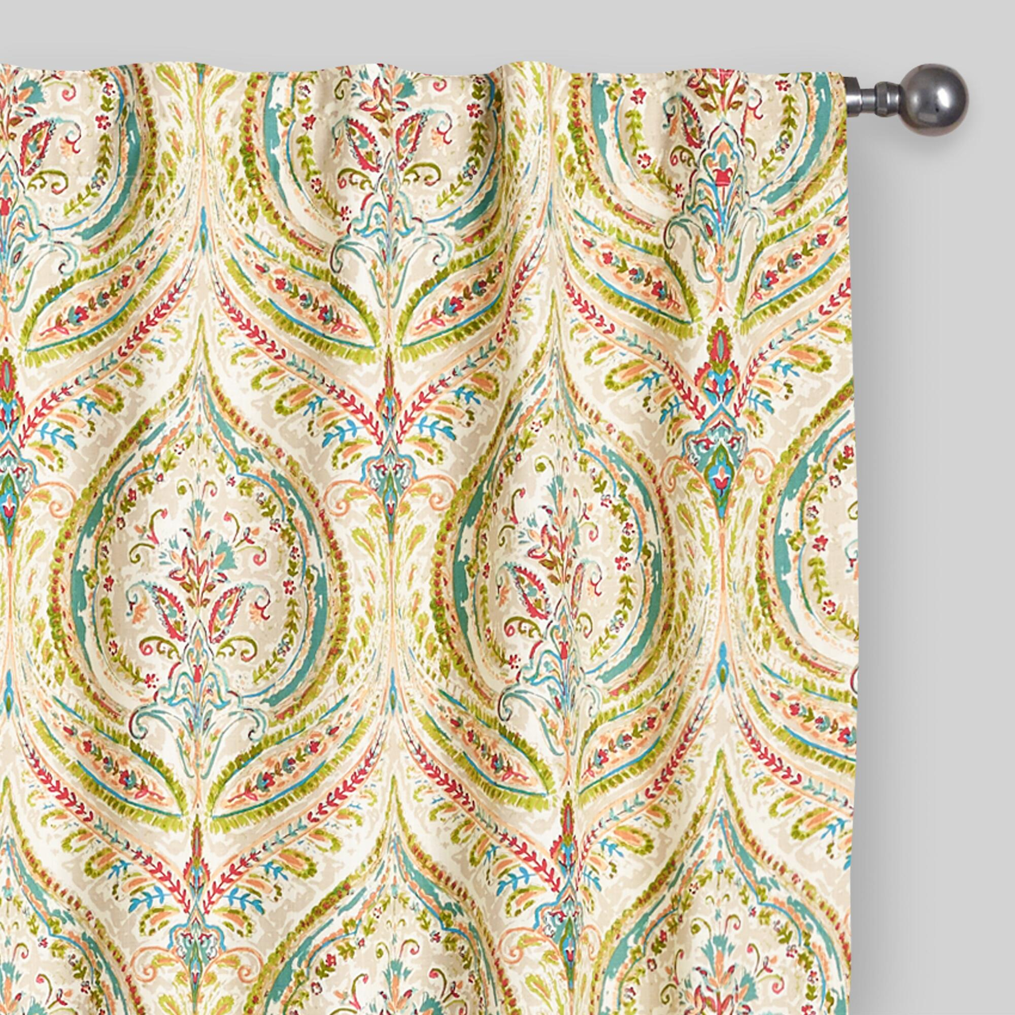 Multicolor Ogee Concealed Tab Top Curtains Set Of 2