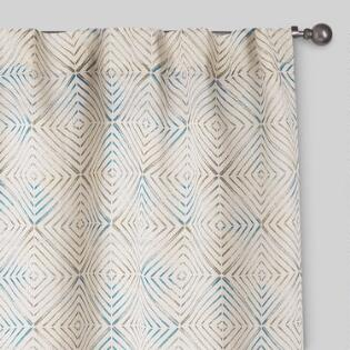 Aqua And Green Geo Print Tab Top Jute Curtains Set Of 2