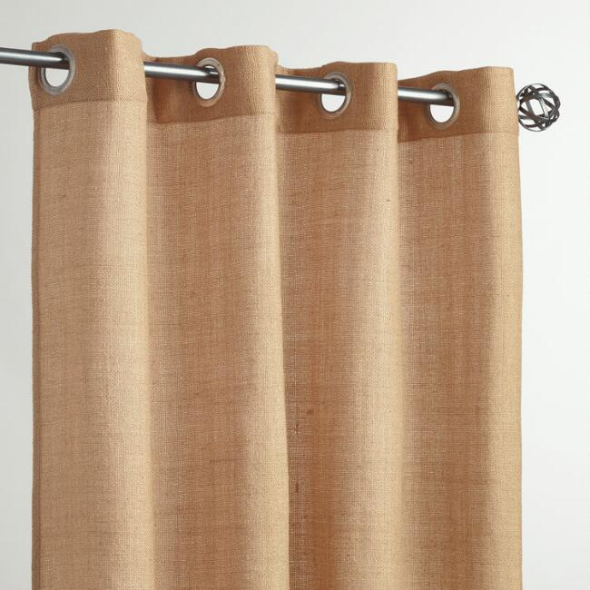 Beige Grommet Top Textured Outdoor Curtains, Set of 2