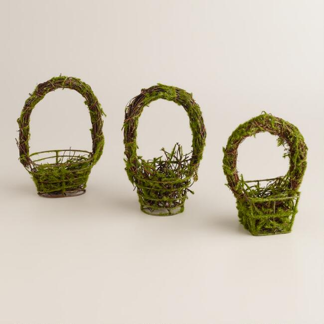 Small Mossy Baskets, Set of 3