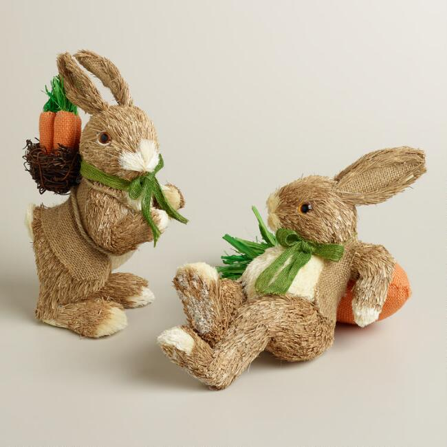 Natural Fiber  Bunnies with Carrots, Set of 2
