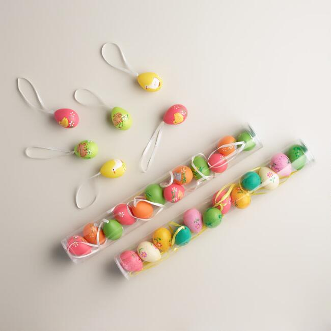 12-Piece Painted Egg Ornaments,  Set of 3