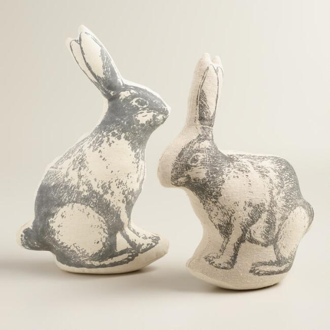 Screen-Printed Rabbit Decor, Set of 2