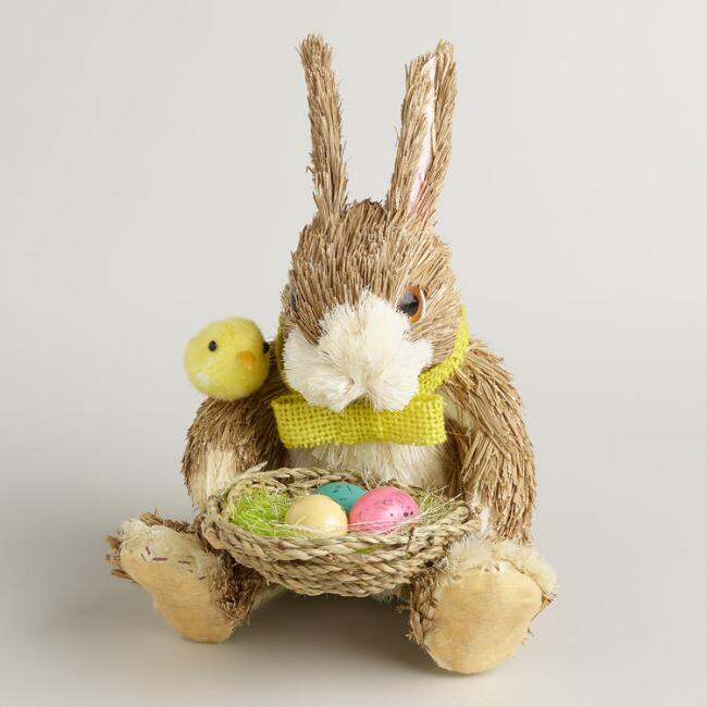 Natural Fiber Bunny with Nest