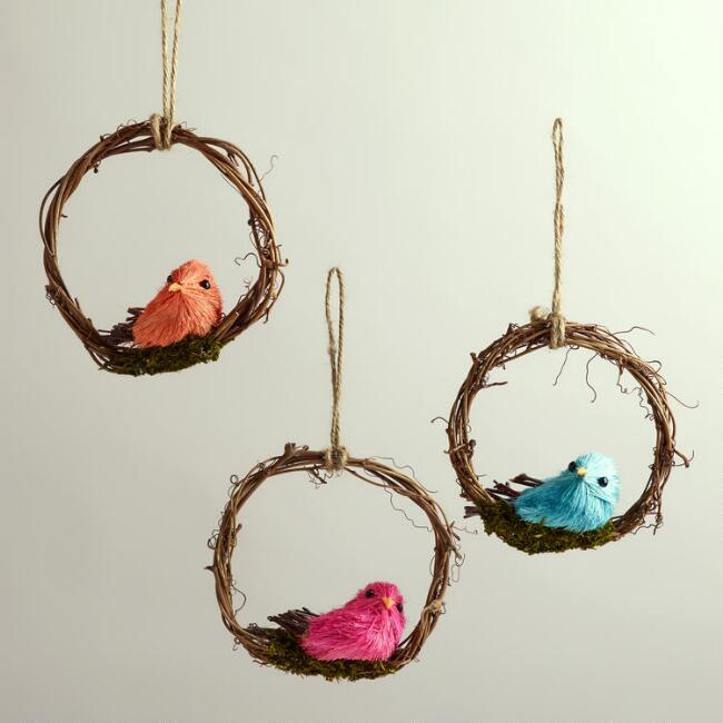 Mini Bird Wreaths, Set of 3