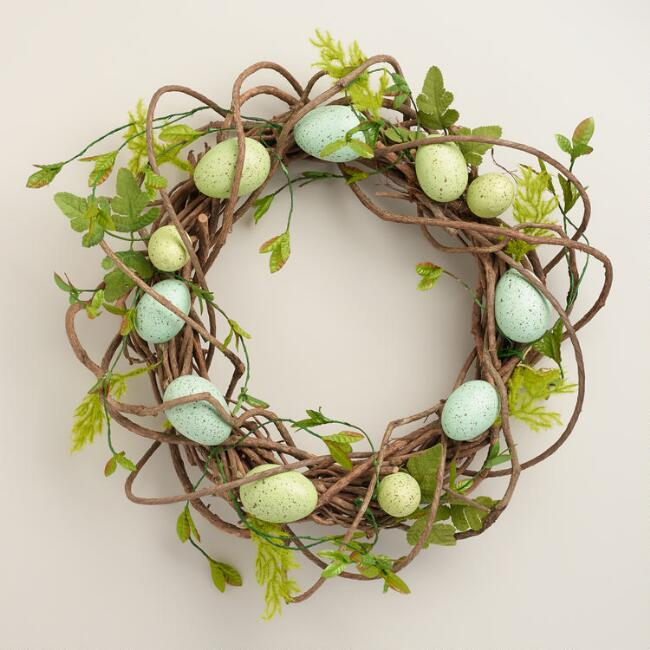 Blue and Green Egg Wreath