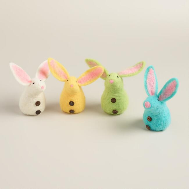 Felt Roly Bunnies, Set of 4