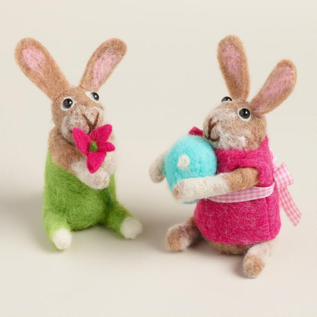 Felt Boy and Girl Bunnies, Set of 2